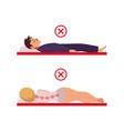 incorrect sleeping posture of man woman vector image vector image