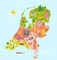 map netherlands with famous symbols vector image