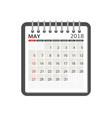 may 2018 calendar calendar notebook page template vector image vector image