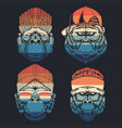 monkey cool collection retro vector image vector image