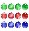 Multicolored Christmas balls Set 2 of 4 vector image vector image