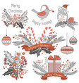 new year and christmas decoration set of gifts vector image vector image