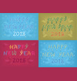 new years retro cards with artistic floral texts vector image
