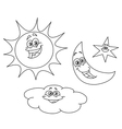outlined sun moon star and cloud vector image vector image