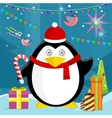 Penguin with Candy Stick Near Christmas Presents vector image