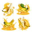 realistic banana splash set vector image vector image