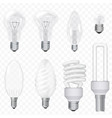 realistic energy saving light bulbs lamps vector image vector image