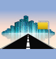 road to the city with road traffic yellow sign vector image vector image