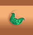 rooster bird animal paper cut with green eco leaf vector image