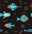 seamless pattern with unusual beautiful fishes vector image vector image