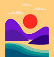 seascape with mountains sea and orange sun flat vector image