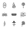 South Korea set icons in monochrome style Big vector image vector image