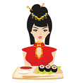 sushi and geisha vector image