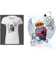 t-shirt design with a skull painted with uk flag vector image vector image