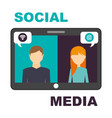 tablet with man and woman bubbles speak social vector image vector image