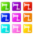 twist tool icons 9 set vector image vector image