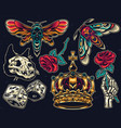 vintage colorful tattoos collection vector image vector image