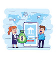 woman and man with money bag and smartphone vector image