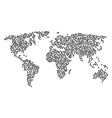 world map pattern of pentagon figure icons vector image