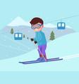 young boy is skiing at a ski resort vector image vector image