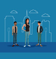 young woman with two guys with silhouette building vector image