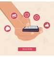 Hand with the smart phone surrounded by icons vector image