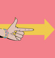 woman hand with pointing finger vector image
