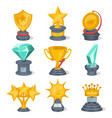 beautiful golden trophy cups and awards vector image