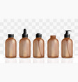 brown bottle for pharma cosmetics mockup vector image