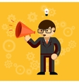 Businessman with a megaphone vector image vector image