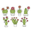 cactuses cactuses and succulents with happy vector image