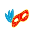 Carnival mask with feathers icon isometric 3d vector image