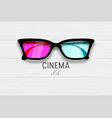 cinema 3d glasses wooden banner vector image