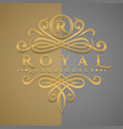 classic luxurious letter r logo with embossed vector image vector image