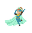 comic brave kid standing on one leg and waving her vector image vector image