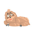 cute cartoon sloth character lying on the floor vector image vector image