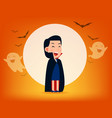 cute dracula character with old scyhalloween vector image vector image