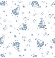 doodle marine seamless pattern vector image vector image