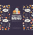 fast food menu design template restaurant menu vector image vector image
