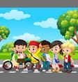 five children in the park vector image vector image