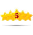 Five golden stars with digit Star icons on white vector image