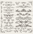 flourish border corner and frame elements vector image