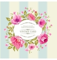 Flower label on the vintage card vector image vector image
