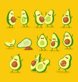 funny cartoon couples character avocado set vector image