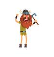 furious viking cartoon character with axe vector image vector image