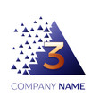 golden number three logo in blue pixel triangle vector image
