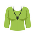 green blouse and pendant fashion women clothes vector image