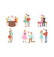 happy romantic loving couples collection young vector image vector image