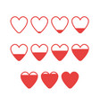 icon set from empty to full hearts vector image vector image