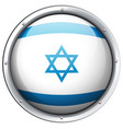 israel flag on round badge vector image vector image